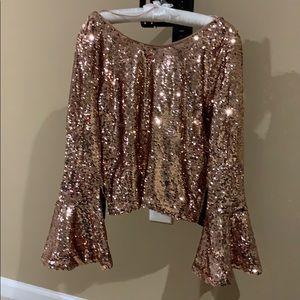 Rose gold sequin shirt